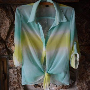 Byline Sheer Tie dye blouse Medium